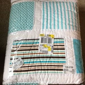 twin aqua & brown patchwork polka dot/stripe quilt